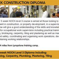 New 5 Week Construction Diploma.